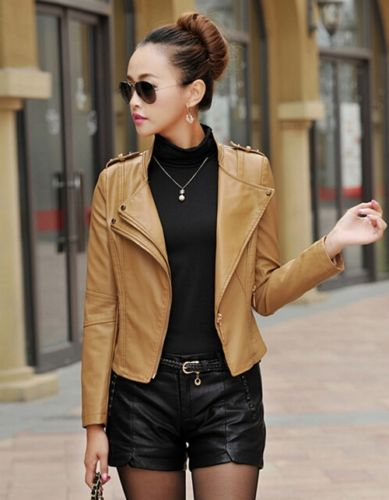 New 2015 Women Short Leather Ladies Lapel Girl Leather Jacket Coat ...